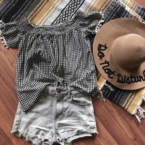 Buffalo check gingham off the shoulder Pom Pom top